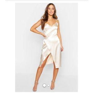 Boohoo Petite Satin Wrap Dress